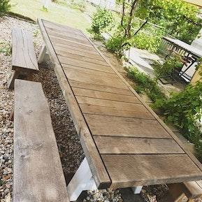 Gartentisch aus Eiche, über 4 Meter lang